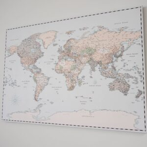 hanging map on the wall hanged without drilling