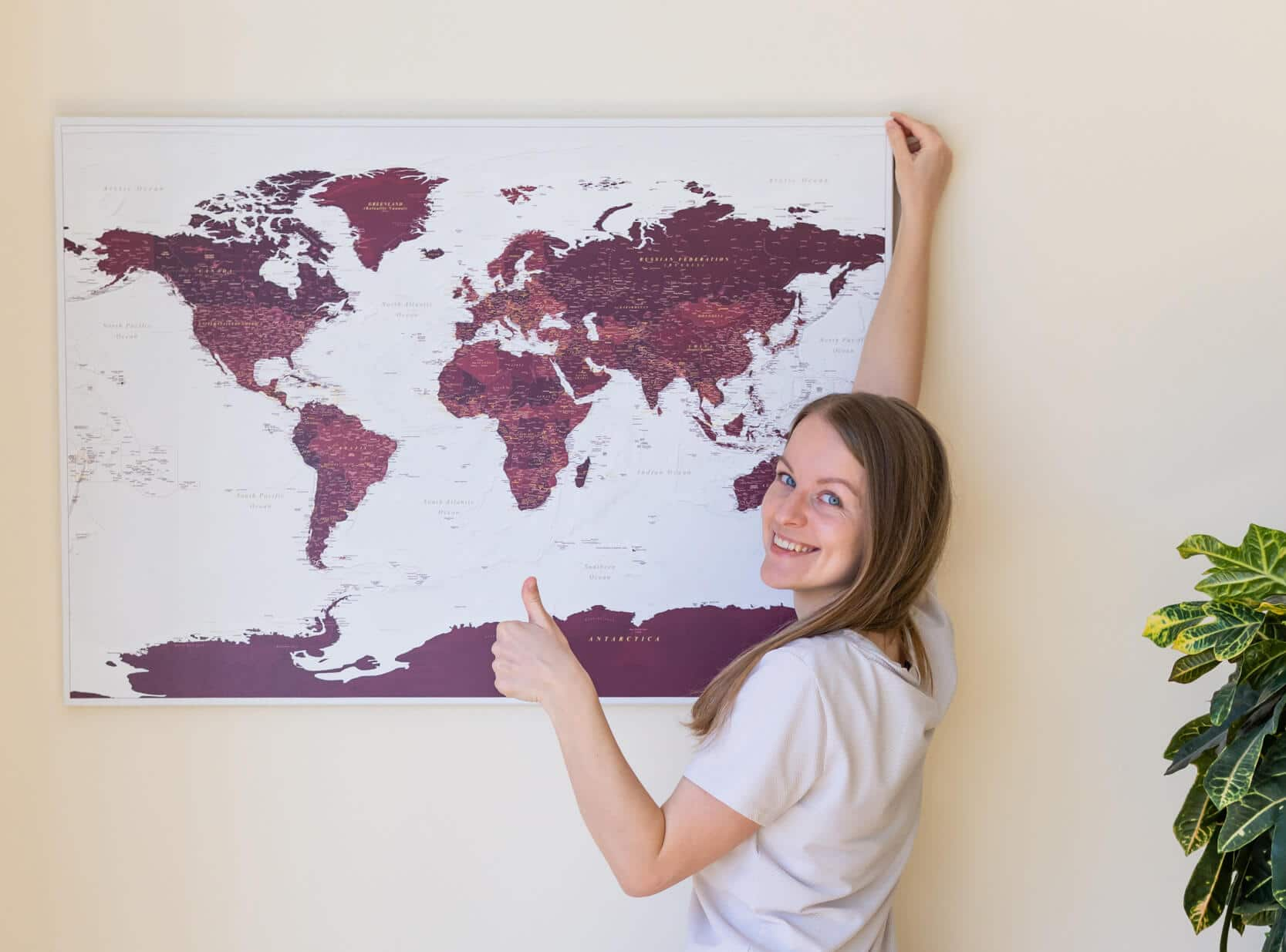 how to hang a map on a wall