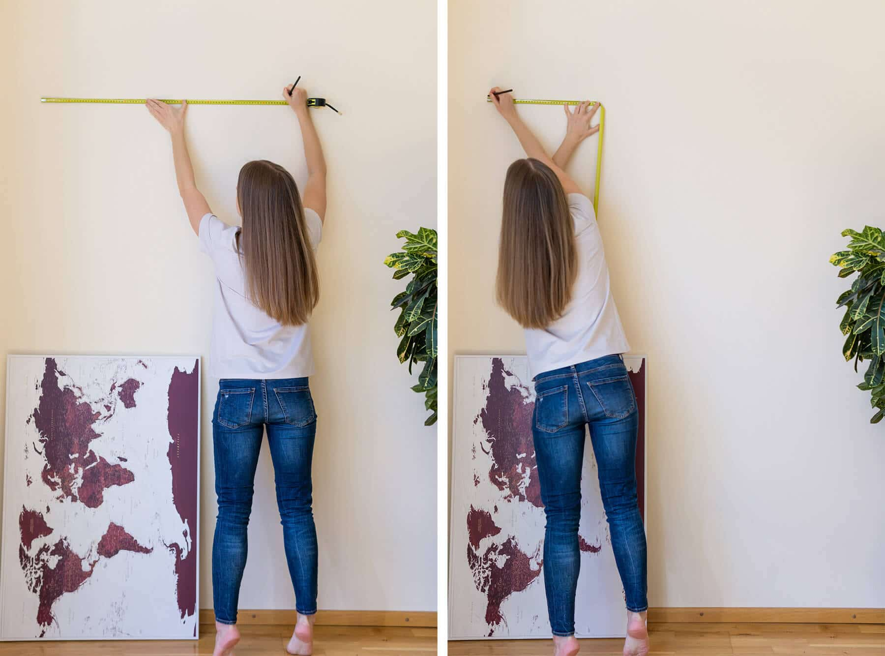 how to hang straight map on wall
