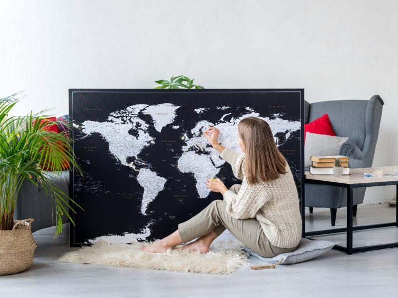modern black push pin world map