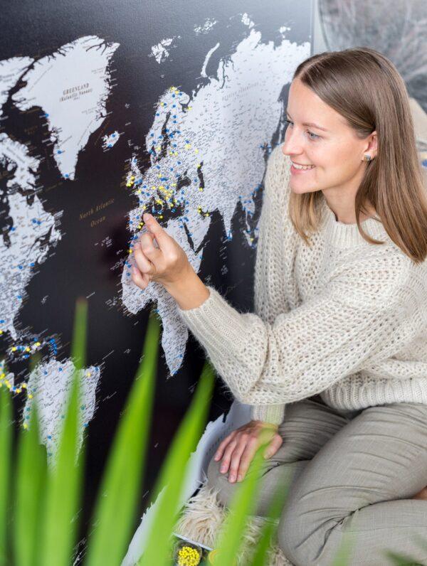 push pin world map modern black trip map