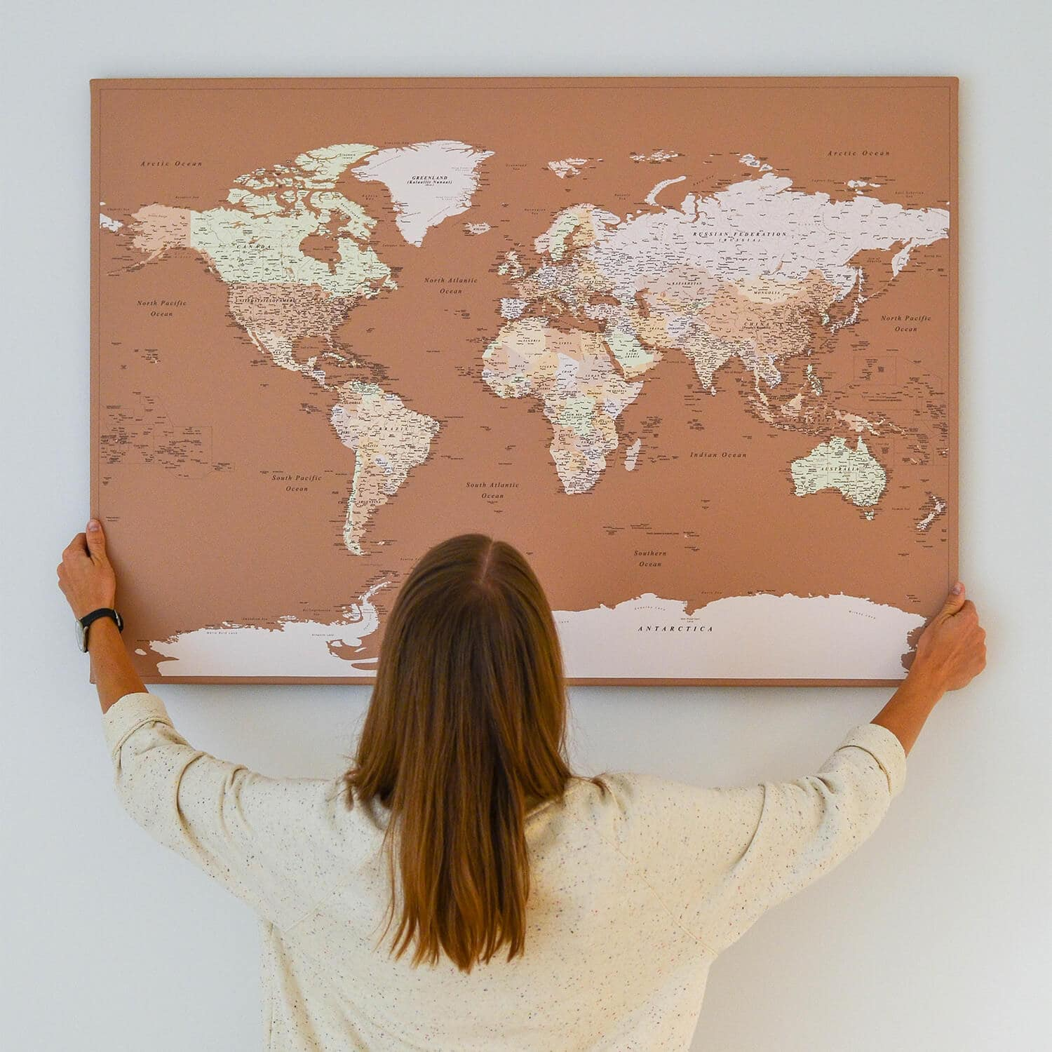 modern world map with pins brown color tripmap
