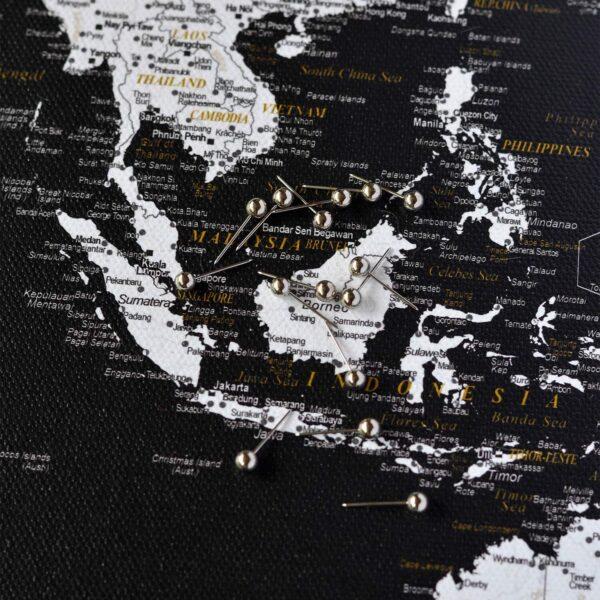 push pin travel map black white
