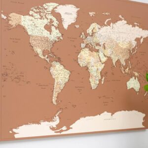 autumn home decor world map pinboard