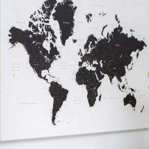 Black And White World Map Poster Canvas