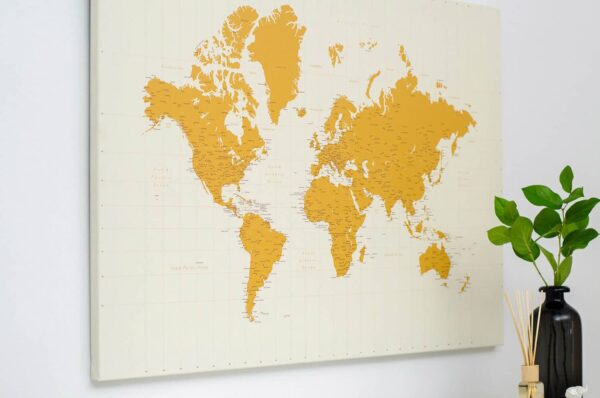 canvas push pin map world art tripmap yellow
