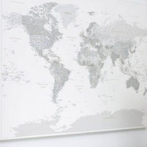 World Push Pin Map - Grey (Detailed)