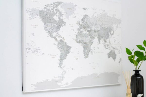 detailed world map poster with pins grey