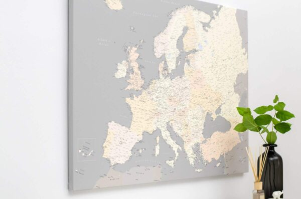 european map with pins canvas art tripmap
