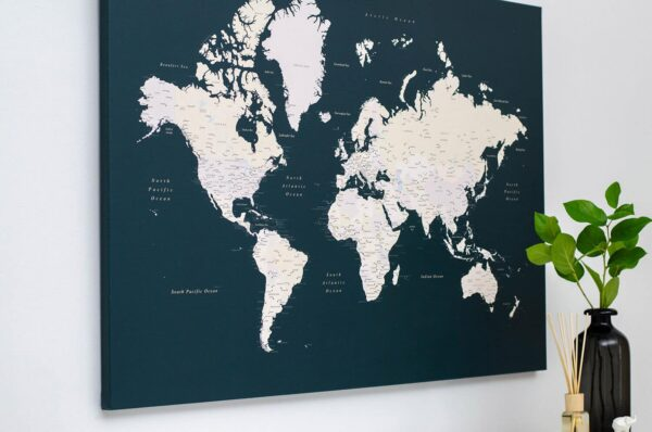 green world map with pin