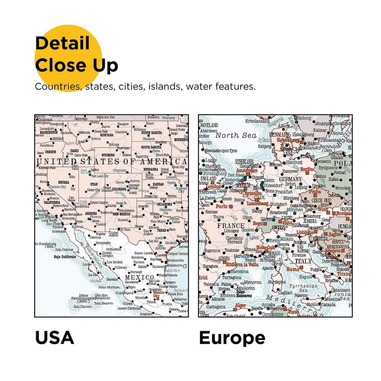 World Push Pin Map - Retro light blue (Detailed) - Push Pin Travel on