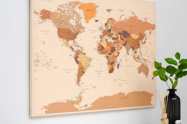 World Push Pin Map - Brown (Detailed)
