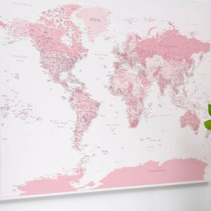 pink push pin world map poster canvas