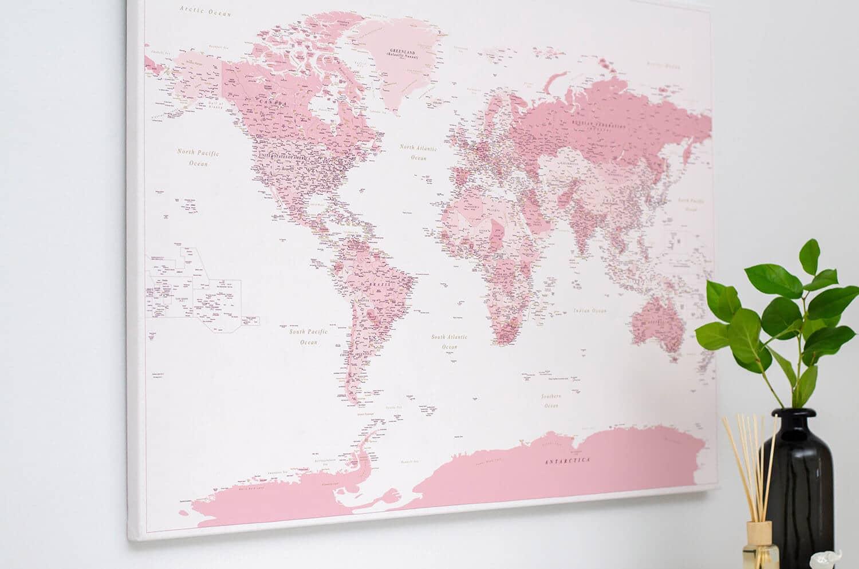 World Push Pin Map - Pink (Detailed)