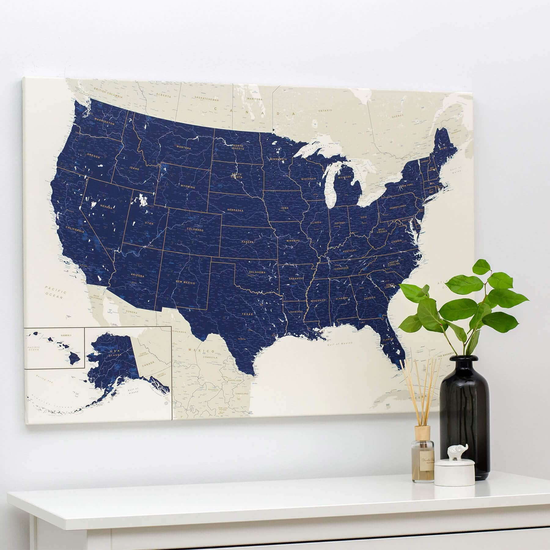 Usa Push Pin Travel Map Navy Blue Detailed Push Pin Travel Maps - Us-pin-map