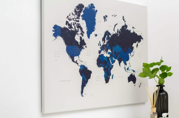 push pin world map blue wall art