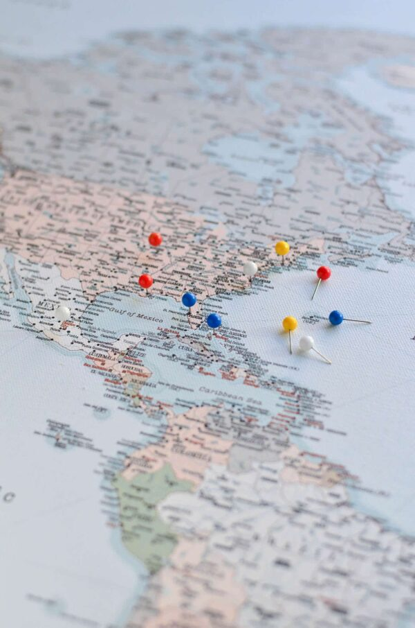 push pin world map to mark travels