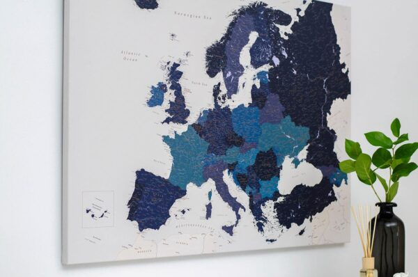 travel map pinboard europe blue