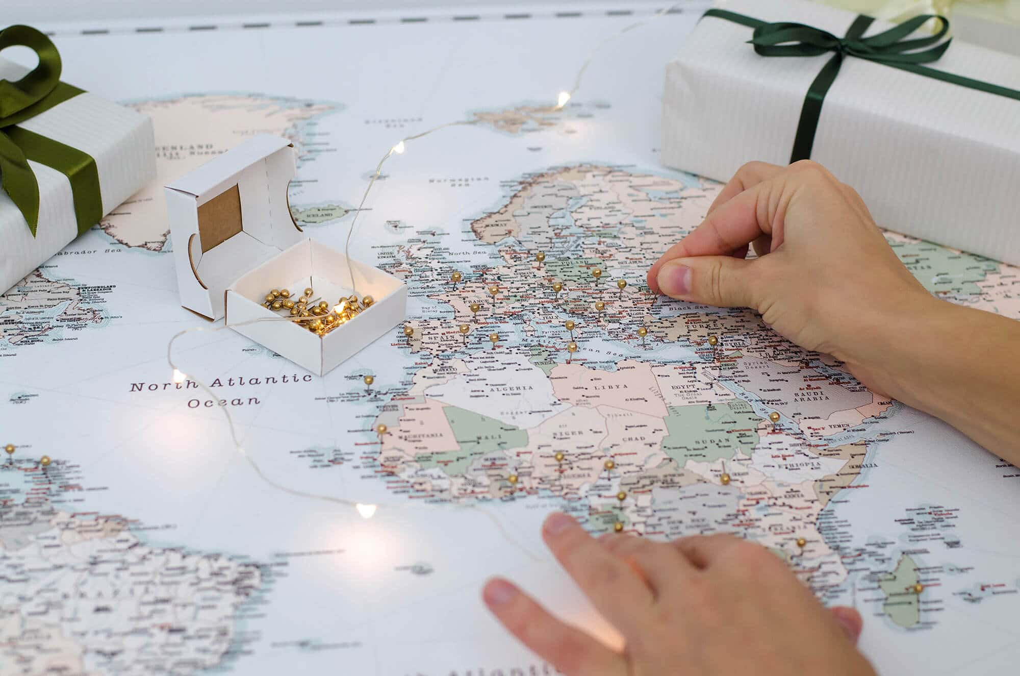 vintage world map with pins