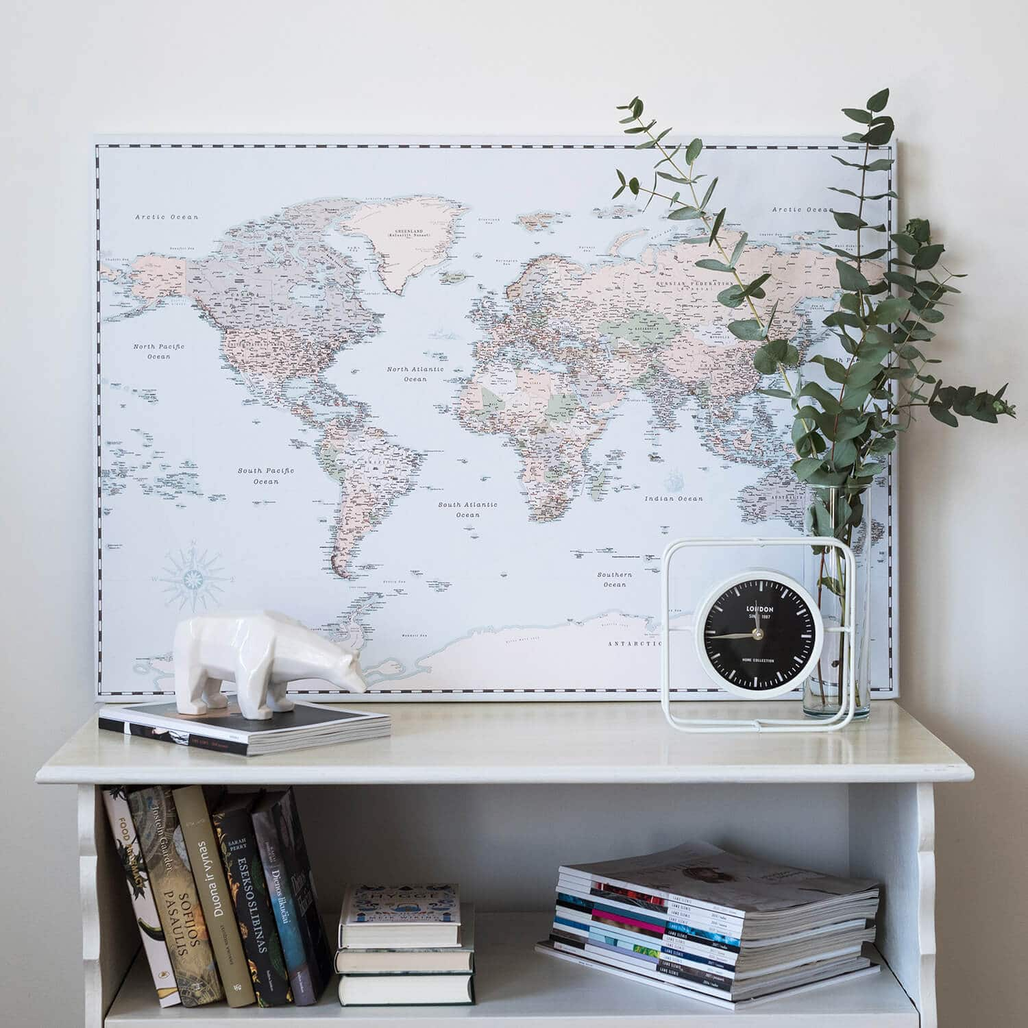 world map vintage with pins