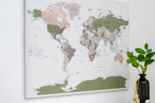 world map wall art green
