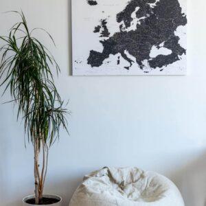 Europe-Push-Pin-Map-Black-and-white-Detailed-tripmapworld