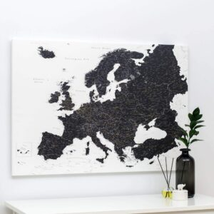 black and white europe map pinboard