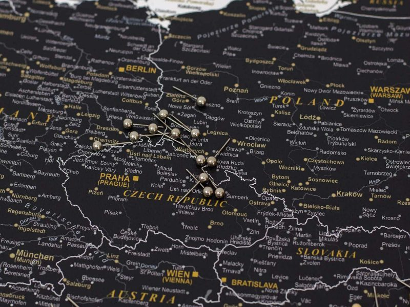 withe black detailed map of europe