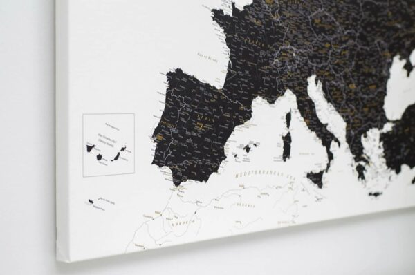europe map pinboard black and white