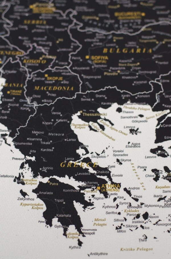 europe map to mark visited places black