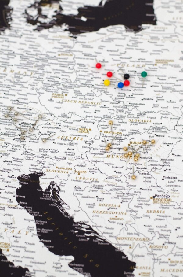 high detailed push pin europe map black