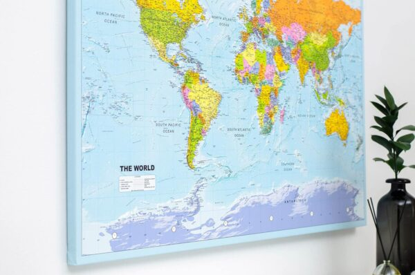 large polical world map with pins