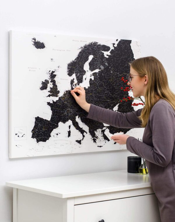 map of the europe with push pins tripmap