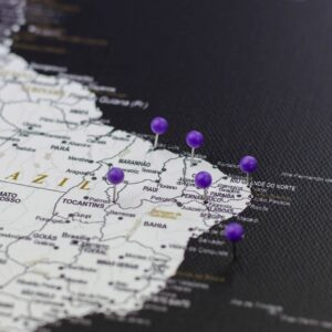 pinned violet purple colour pins on canvas map