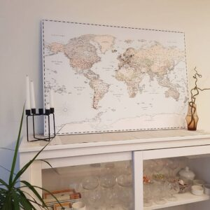 canvas world map light color