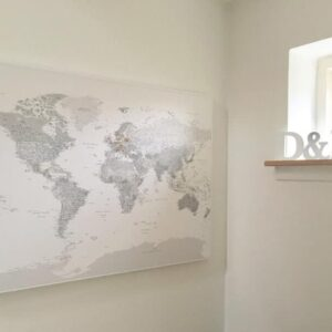 grey white world map to track travels
