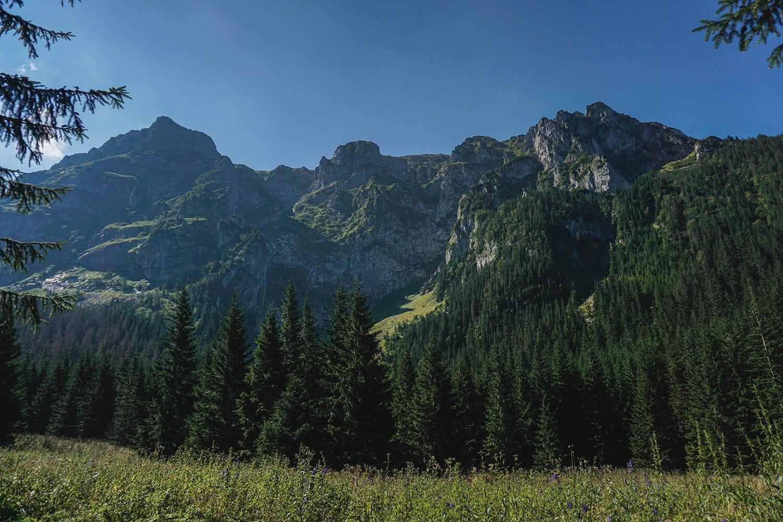 hiking trail to giewont mountain peak