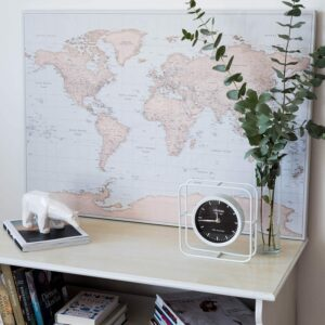 map of world with push pins vintage design