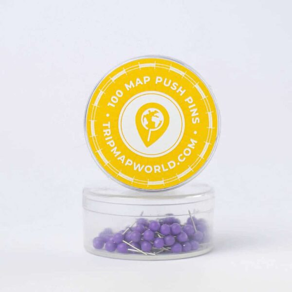 purple push pins for map pinning
