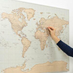 vintage push pin world map