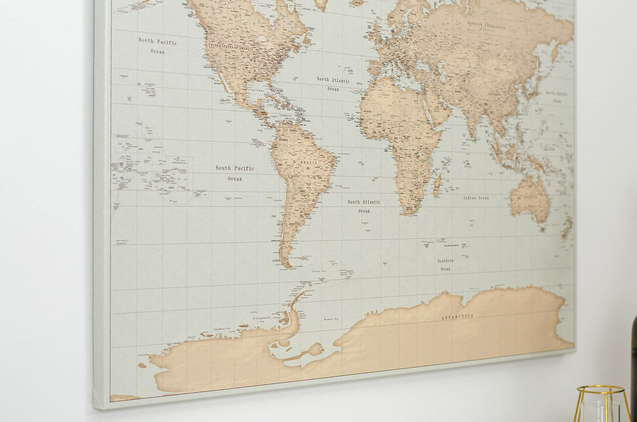 vintage style wall world map