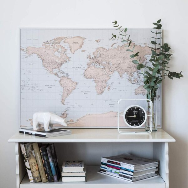 vintage world map to mark travel destinations