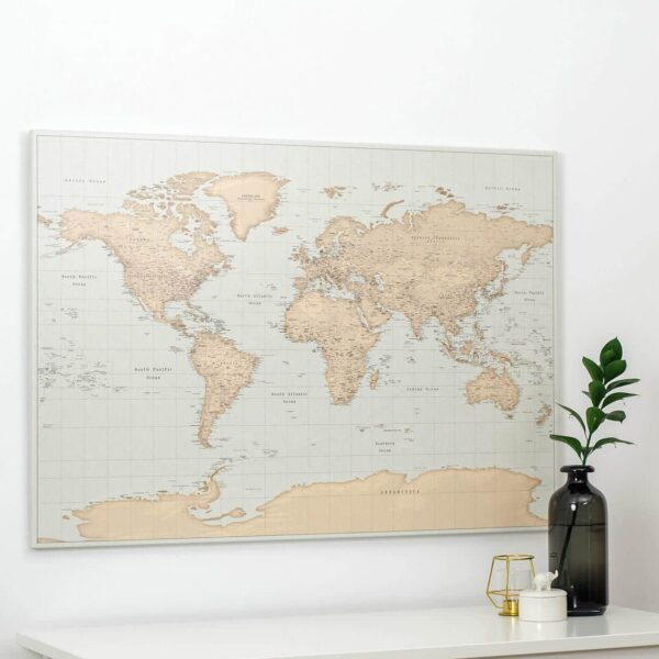 vintage world map with push pins
