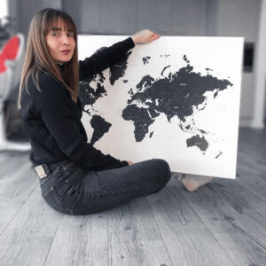 world map canvas black and white with pins