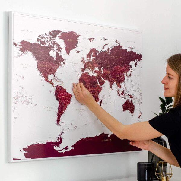 burgundy home decor world map