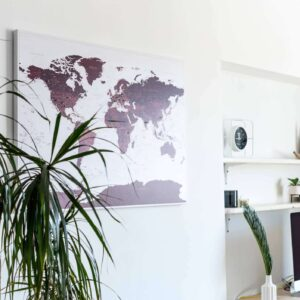 burgundy interior decor travel map