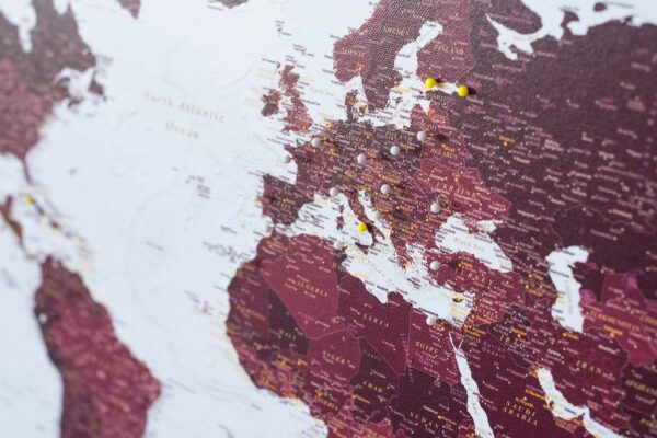 burgundy push pin world map