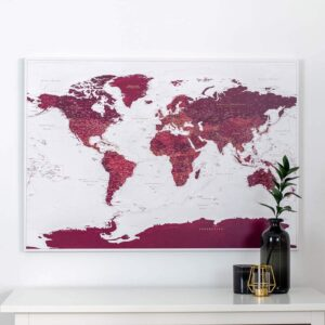burgundy world map wall art
