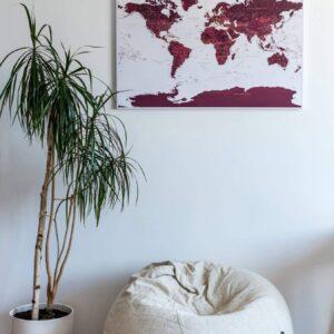 pin travel world map burgundy