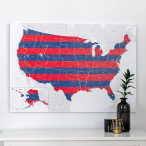 push pin usa map 4th of july decor